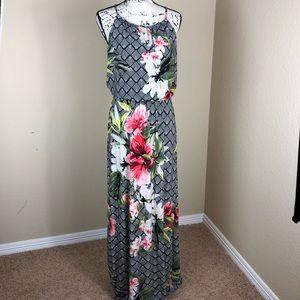 White House Black Market Floral Maxi Dress M